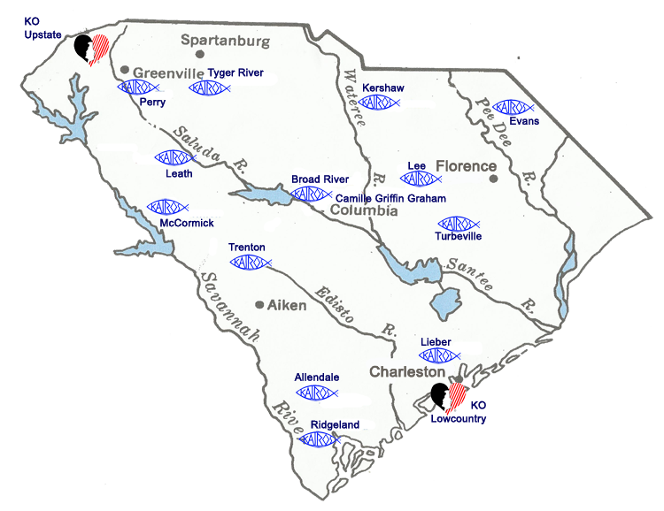 Kairos Prison Ministry of South Carolina Ministry Map